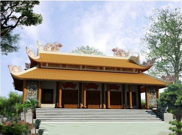 bản vẽ phối cảnh mặt tiền nhà thờ họ kiến trúc Đông Nam Á