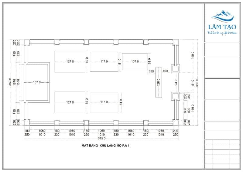 Bản vẽ thiết kế khu lăng mộ đá kích thước 6.4 x 3.6m