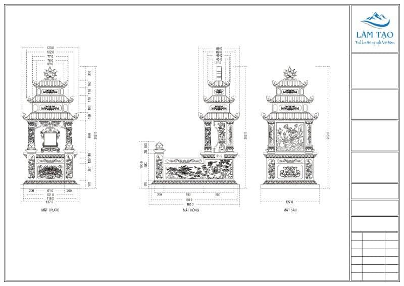 Bản thiết kế chi tiết ngôi mộ ba mái