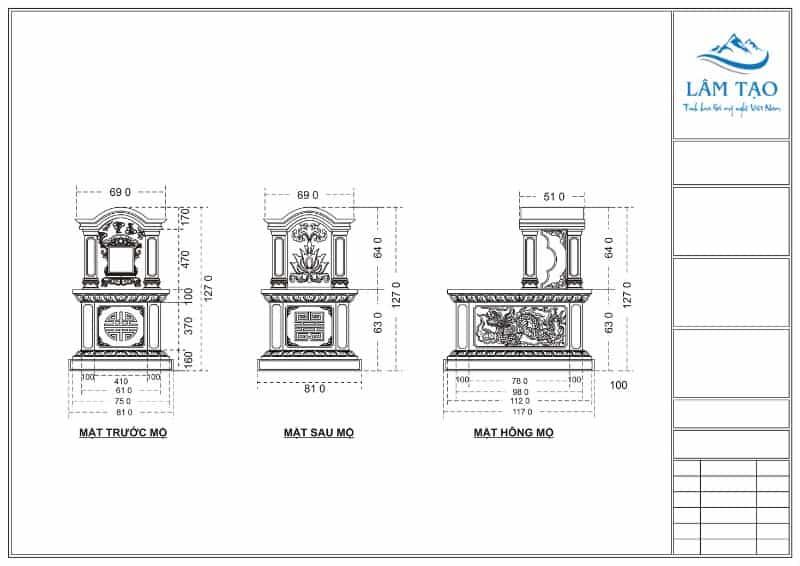 Bản thiết kế chi tiết ngôi mộ một mái