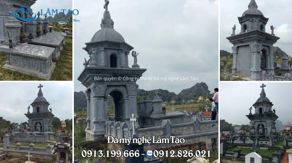 Khu lăng mộ đá đẹp, mộ đá nguyên khối cao cấp được thiết kế, thi công bởi Công ty TNHH Đá mỹ nghệ Lâm Tạo