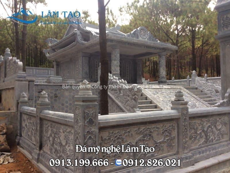 Khu lăng mộ đá đẹp được thi công hoàn toàn 100% đá xanh tự nhiên nguyên khối tại Đồ Sơn, Hải Phòng