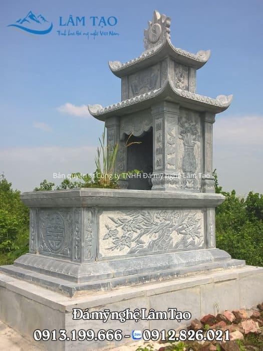 Lăng mộ hai mái làm từ đá xanh nguyên khối kích thước 89x147 cm lắp tại Gia Viễn, Ninh Bình