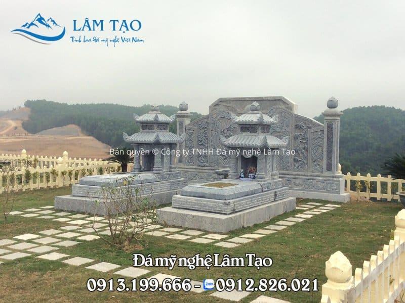 2 ngôi mộ hai mái kích thước 89x147 lắp tại công viên nghĩa trang Thiên Đức