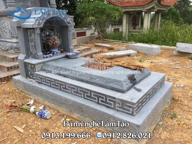 Mẫu mộ đá một mái đơn giản, kích thước chuẩn phong thủy 81x127 cm