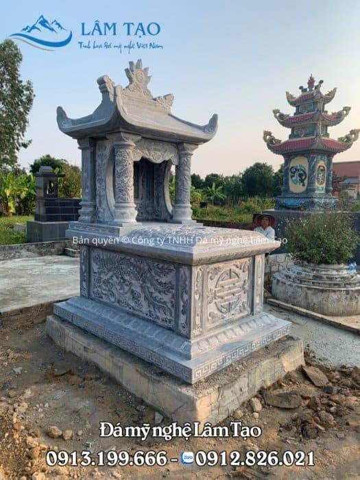 Lăng mộ đá một mái Ninh Bình, chạm khắc hoa văn đẹp thi công lắp đặt tại Quảng Trị