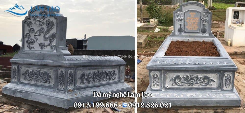 Mặt trước và mặt sau ngôi mộ Tam Sơn nguyên khối kích thước 89x147 cm