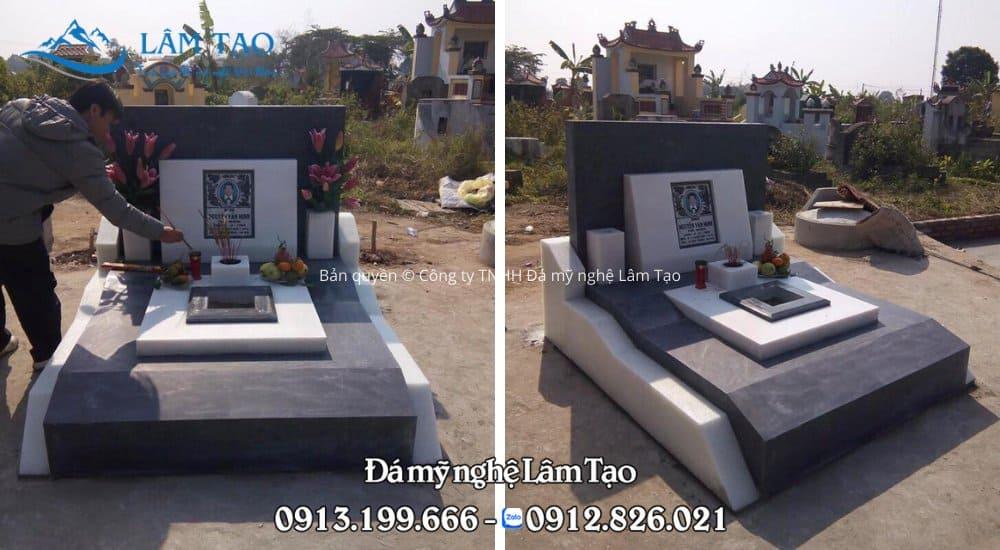 Hình ảnh mặt trước và mặt hông mẫu mộ Tam Sơn đẹp được Đá mỹ nghệ Lâm Tạo thi công và lắp ghép tại tỉnh Hòa Bình
