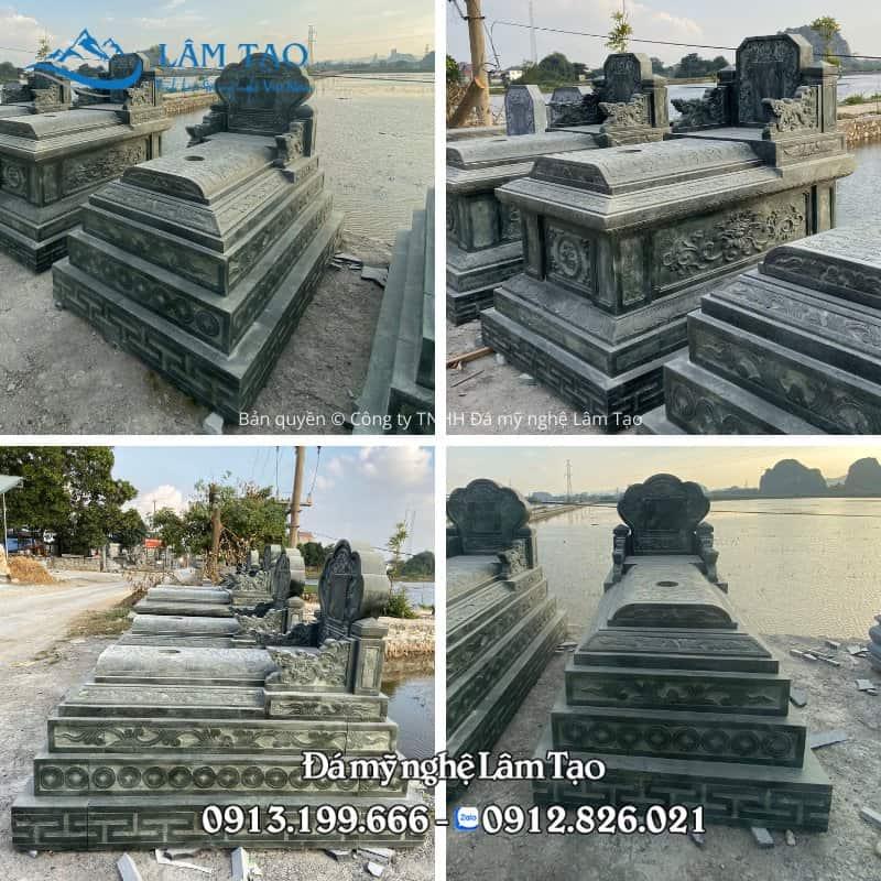 Lăng mộ đá tam sơn đá xanh rêu đẹp cao cấp