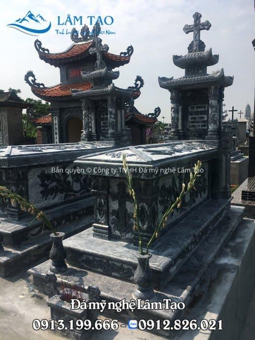 Ngôi mộ đá công giáo đẹp, chạm khắc hoa văn tinh tế bằng tay