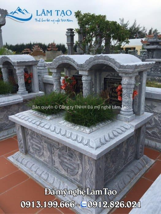 Mẫu mộ đôi một mái vòm đẹp, chạm khắc vô cùng sắc nét