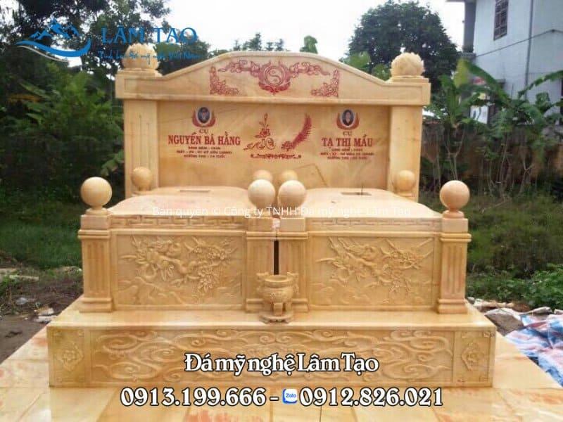 Mẫu mộ đôi bằng đá vàng đẹp và sang trọng