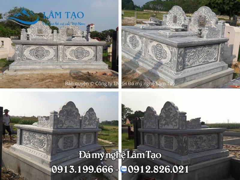 Hình ảnh 4 mặt trước, sau, trái, phải mộ đôi hình Tam Sơn thiết kế độc đáo, chạm khắc hoa văn cổ điển truyền thống của Phật giáo cho 2 cụ Ông, Bà lắp đặt tại tỉnh Quảng Ninh