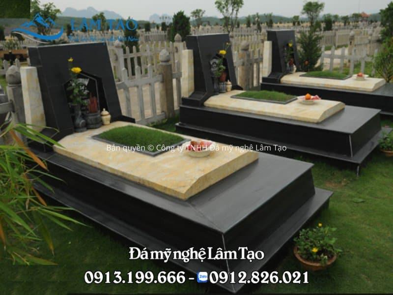 Mẫu mộ đá granite đen đẹp