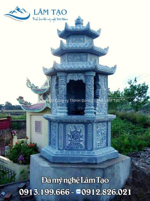 Mẫu lăng mộ đá bát giác ba mái đẹp làm từ đá xanh Thanh Hóa