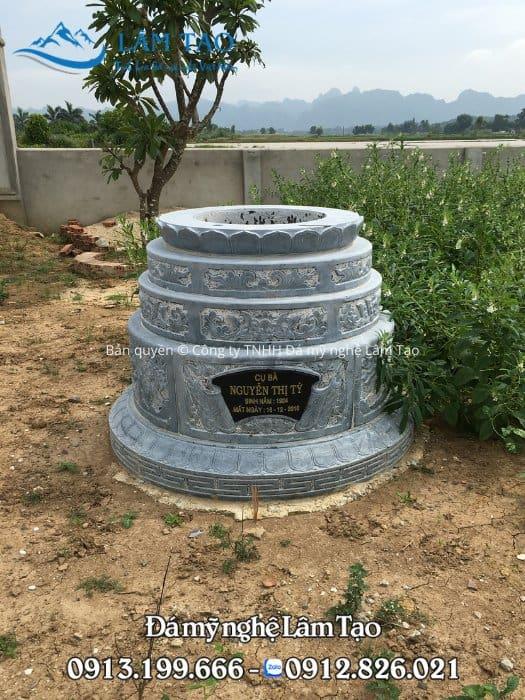 Mẫu mộ tròn đẹp đơn giản sang trọng bằng đá xanh nguyên khối