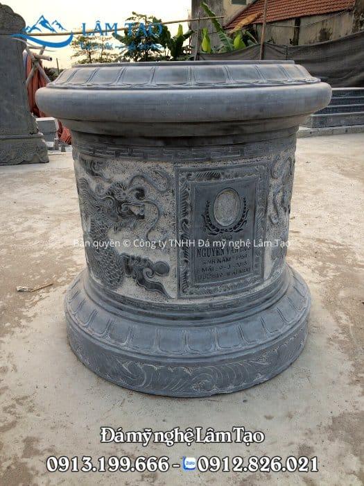 Mẫu mộ tròn đẹp kích thước nhỏ, chiều cao 81cm chạm khắc đẹp bằng đá xanh Thanh Hóa