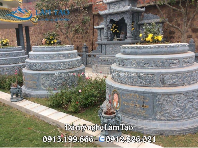 Mẫu mộ tròn bằng đá đẹp bằng đá xanh đen tự nhiên nguyên khối
