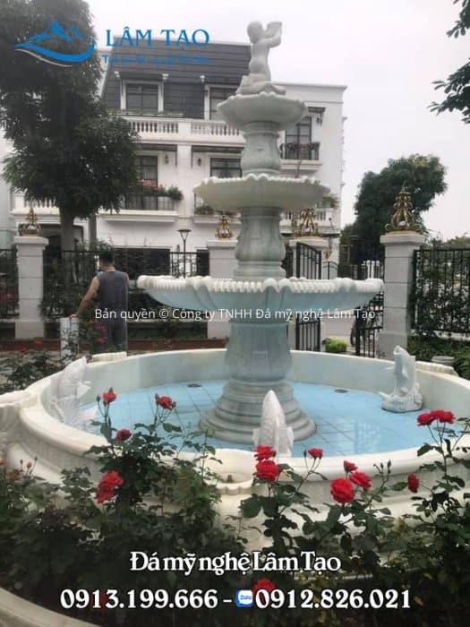 Thiết kế, thi công đài phun nước bằng đá trắng tại Hà Nội