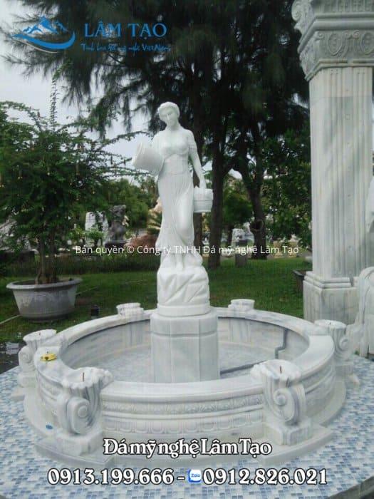 Tượng nữ thần bên trong đài phun nước đẹp