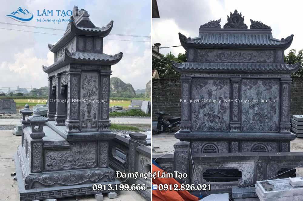 Mặt hông và mặt sau của ngôi mộ đôi hai mái