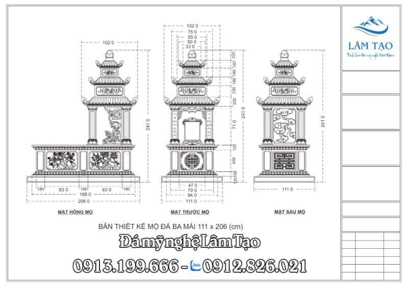 Bản thiết kế mộ đá ba mái kích thước 111x206