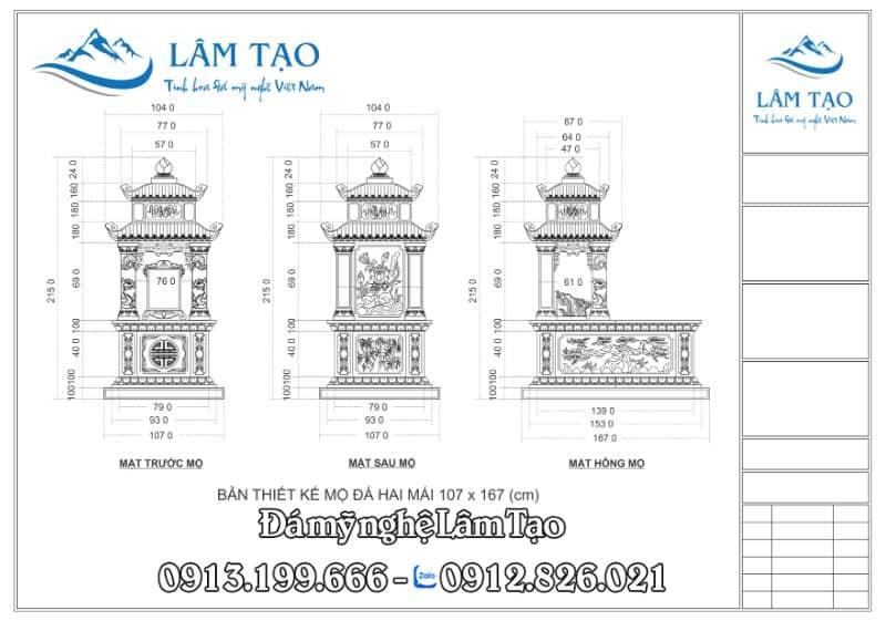 Bản thiết kế Mộ Hai Mái kích thước 107x167 (cm)