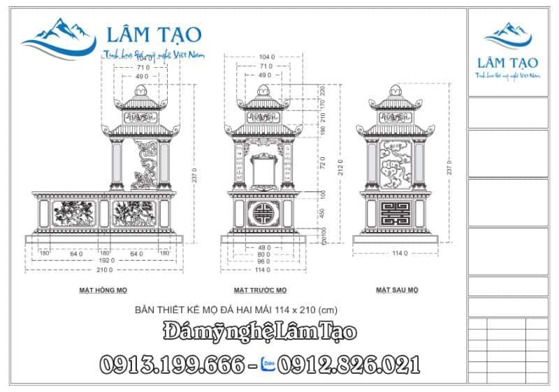 Bản thiết kế Mộ Hai Mái kích thước 114x210 (cm)