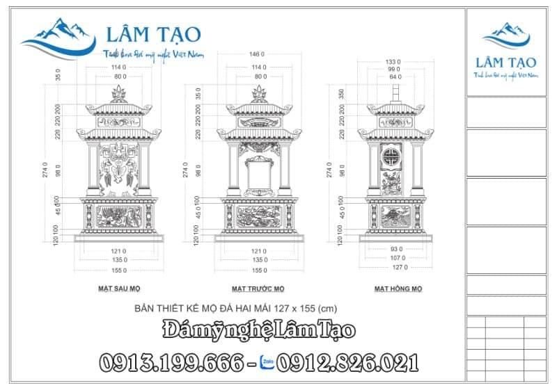 Bản thiết kế Mộ Hai Mái kích thước 127x155 (cm)