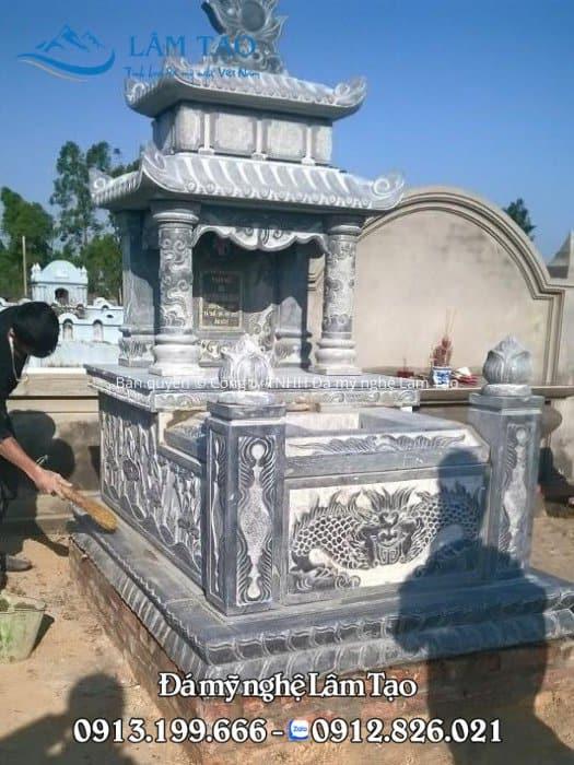 Mẫu mộ hai mái đẹp bằng đá