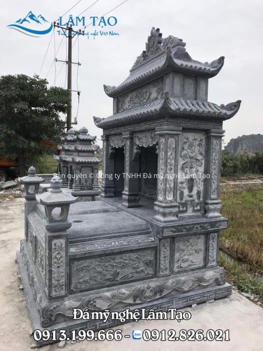 Mẫu mộ hai mái đẹp bằng đá xanh tự nhiên