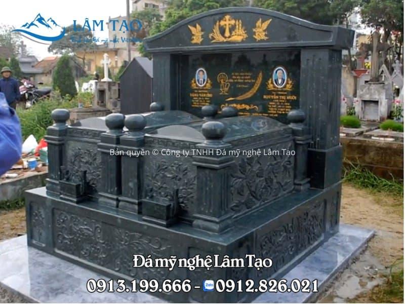 mẫu mộ đôi từ đá xanh rêu cao cấp