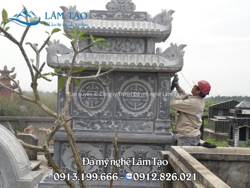 Lắp đặt mộ đôi bằng đá tại Nam Định