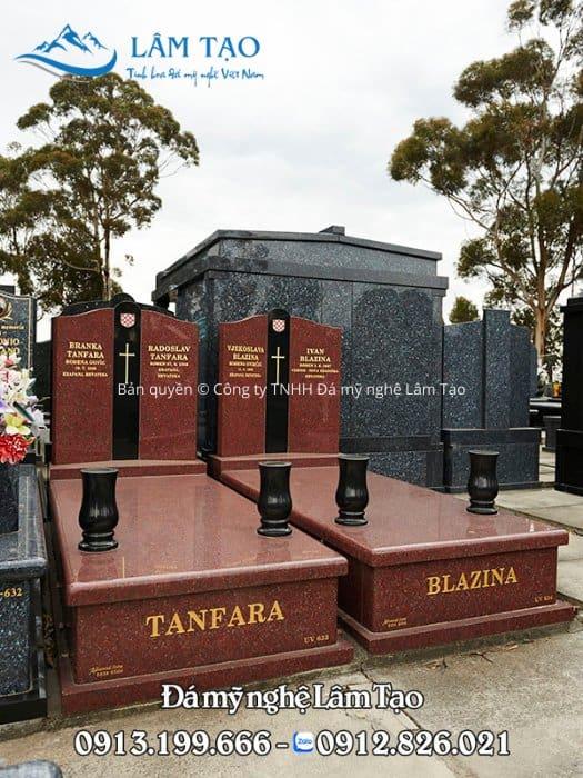 mẫu mộ đôi đẹp bằng đá granite