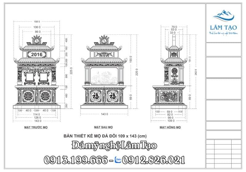 Bản thiết kế mộ đá đôi hai mái đẹp và cân đối