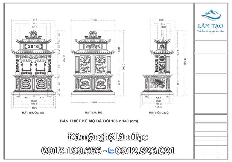 Mẫu thiết kế chi tiết ngôi mộ hai người bằng phần mềm Corel Draw