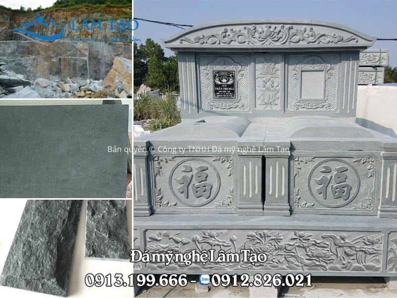 Mộ đôi làm từ đá xanh rêu cao cấp, nguồn đá đầu vào được khai thác ở sâu bên dưới chân những ngọn núi tại những mỏ đá lớn của tỉnh Thanh Hóa