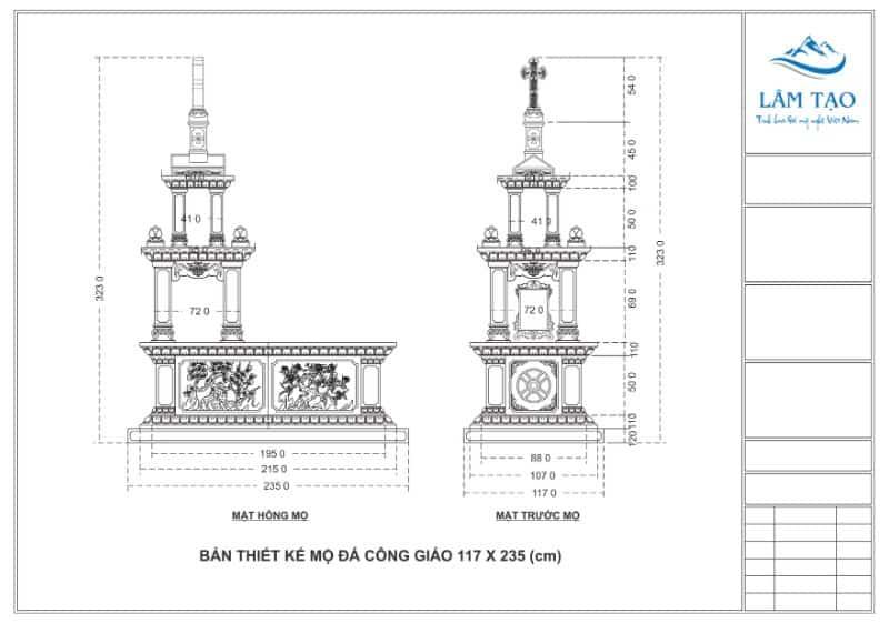 Bản thiết kế mẫu mộ đá công giáo hai tầng mái