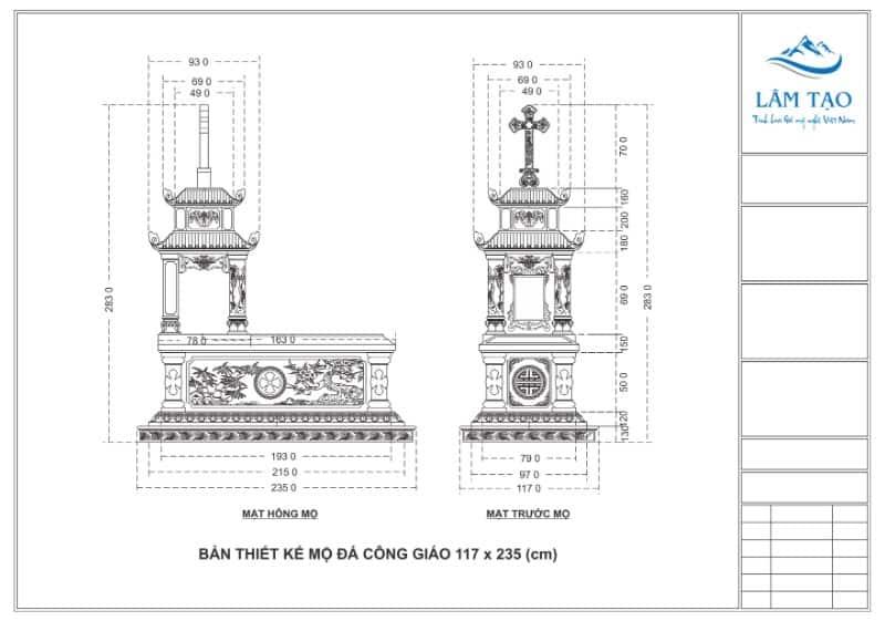 Chi tiết số đo, kích thước mẫu mộ đá hai mái đẹp Ninh Bình