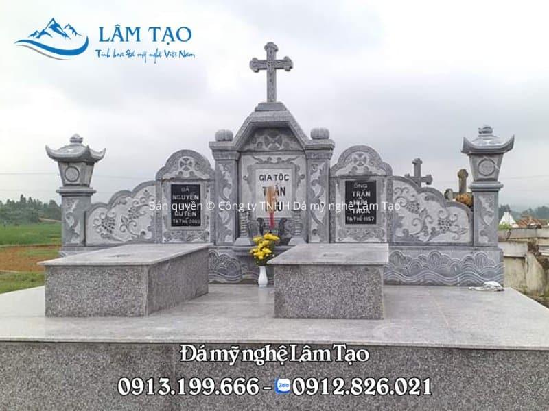 Mẫu mộ đá đôi công giáo được Đá mỹ nghệ Lâm Tạo thiết kế, thi công và lắp đặt hoàn thiện tại Ninh Bình