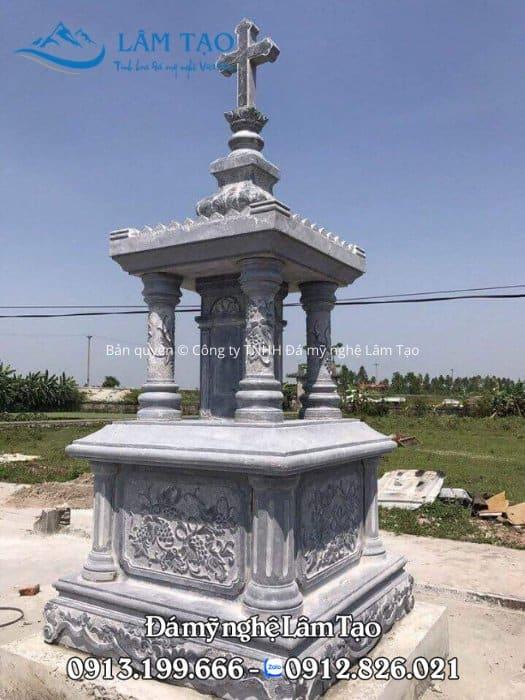 Mẫu mộ công giáo một mái đẹp bằng đá tự nhiên nguyên khối