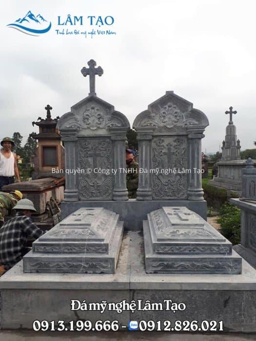 mẫu mộ đá công giáo nguyên khối