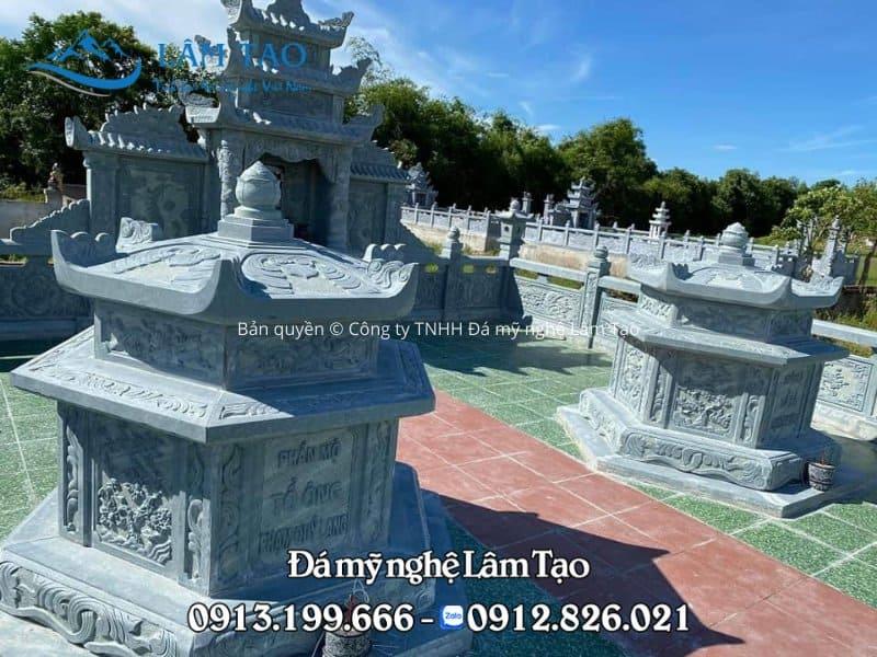 Mẫu mộ đá lục giác đẹp bằng đá xanh Thanh Hóa