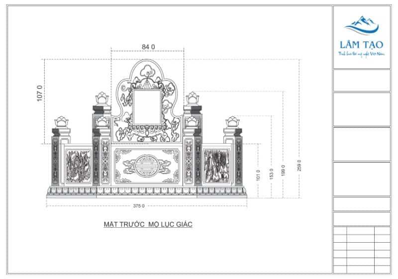 Bản vẽ thiết kế mặt trước ngôi mộ lục giác