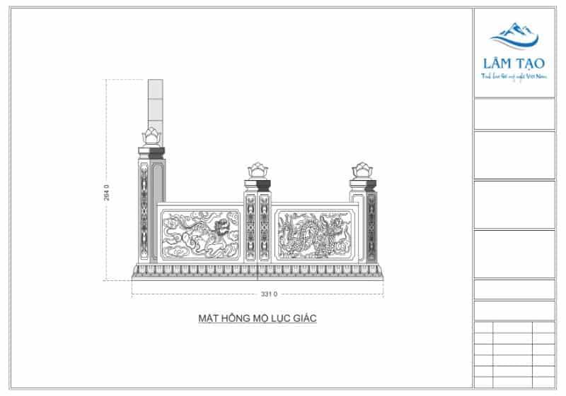 Bản vẽ thiết kế mặt hông ngôi mộ lục giác