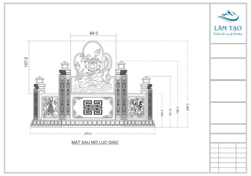 Bản vẽ thiết kế mặt sau ngôi mộ lục giác