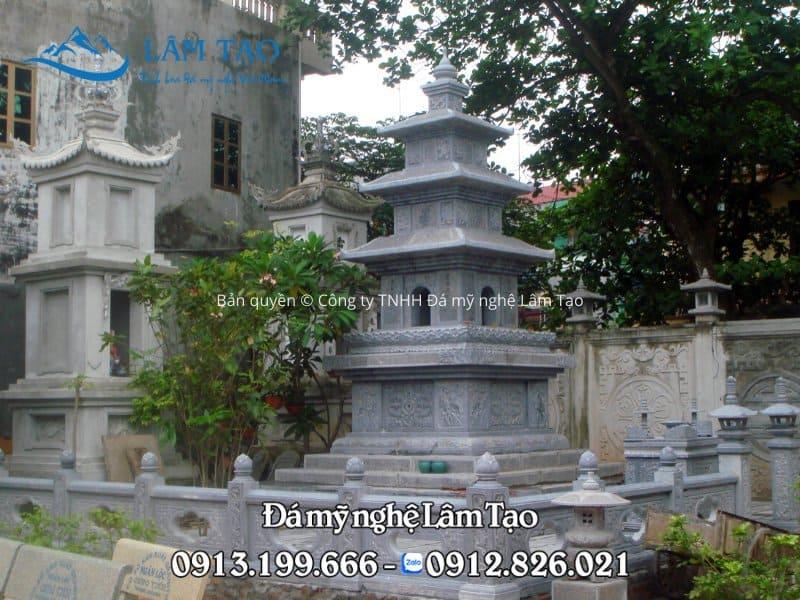 Thi công mộ tháp cho chùa