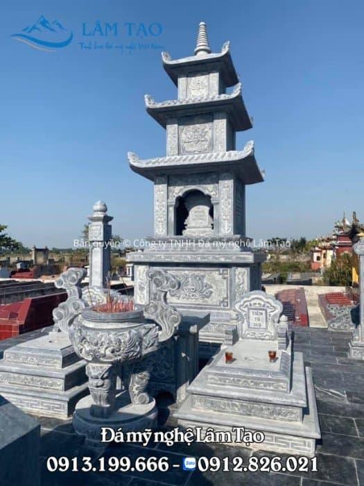 Mẫu mộ tháp đẹp bằng đá xanh Thanh Hóa