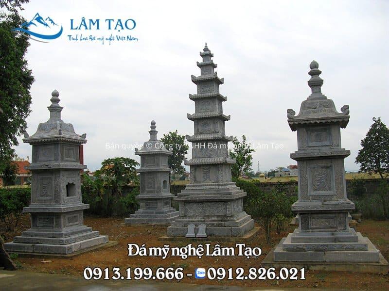 Hình ảnh ngôi mộ tháp đá 7 tầng được thiết kế và thi công bởi Công ty TNHH Đá mỹ nghệ Lâm Tạo