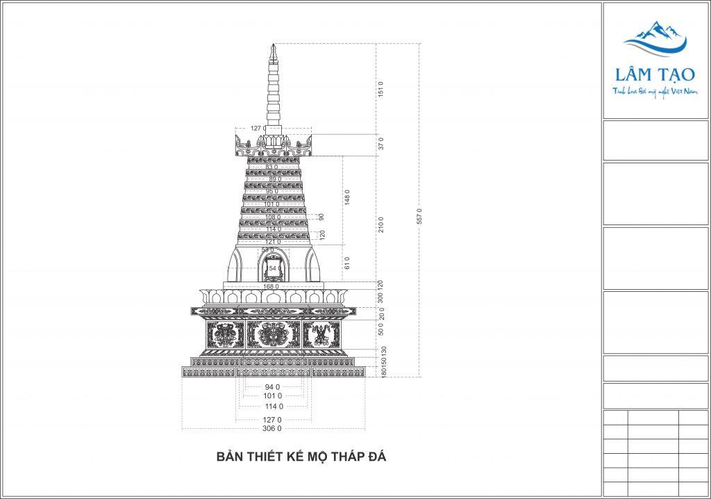 Bãn vẽ thiết kế chi tiết ngôi mộ tháp trước khi tiến hành thi công xây dựng